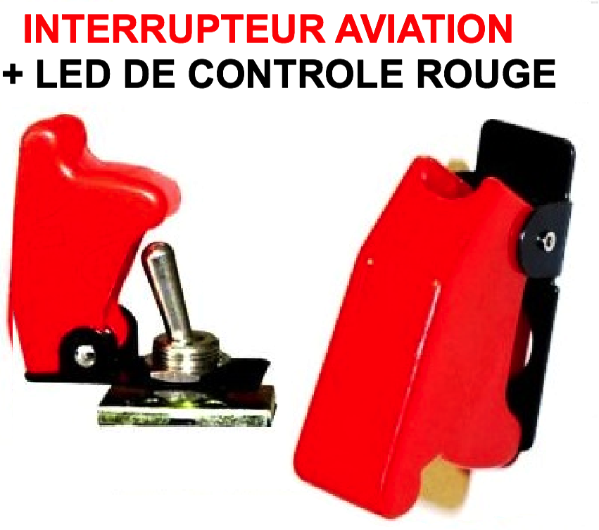 interrupteur aviation capot rouge led rouge le club. Black Bedroom Furniture Sets. Home Design Ideas