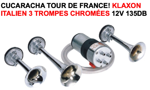 135db! Klaxon Italien 3 trompes Chromées 12V - LE CLUB MECANIQUE 7c842be3591