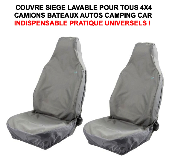 Couvre siege lavable pvc gris 4x4 camion camping car le for Housse siege camping car