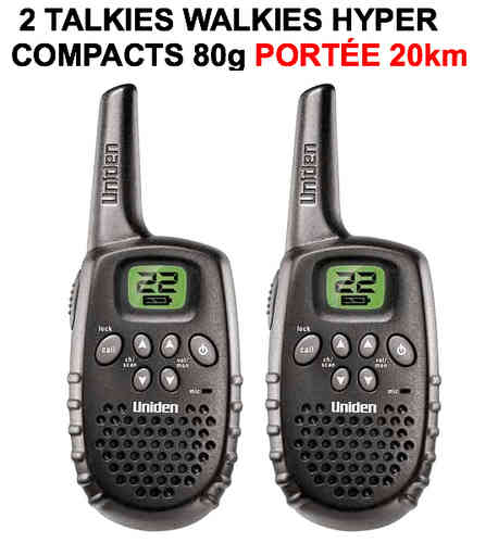 2 Talkies Walkies Hyper Compacts Portée 20km
