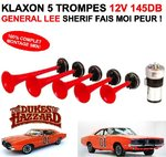 "EXCLUSIVITE! Enorme Klaxon 12V 145db 5 trompes ""General Lee"""