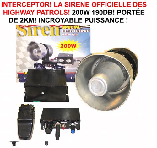 Interceptor ! Sirene Officielle Police FBI Ambulance Pompiers US ! 12V 200W puissance 190db !