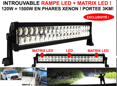 Exclusivité ! Barre Rampe de Phare LED + Matrix LED 120W Eclairage 1500W Xenon !