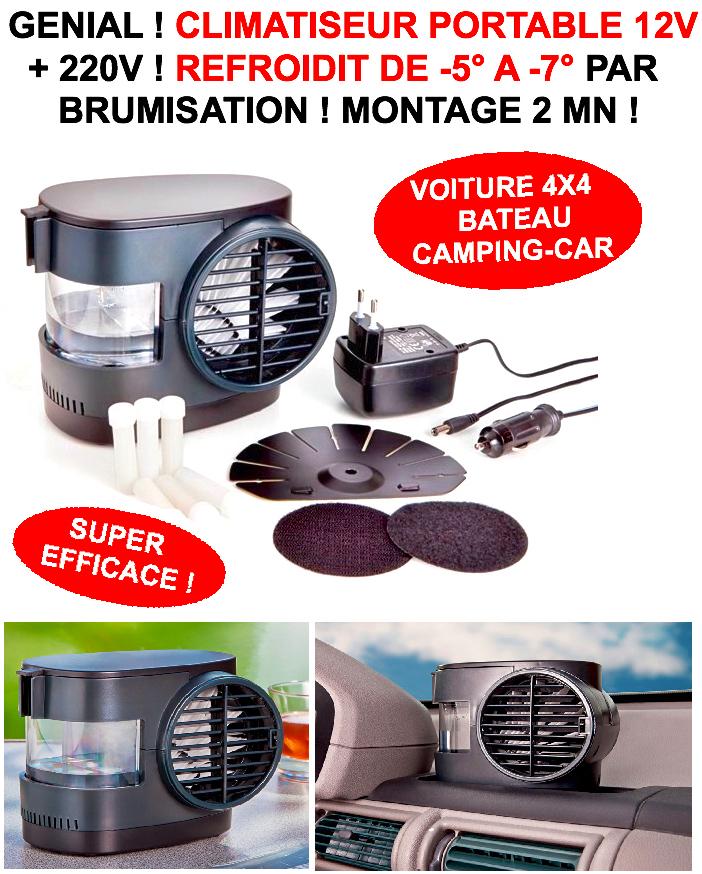 g nial climatiseur brumisateur compact 12v 220v refroidit de 5 7 en 5mn le club. Black Bedroom Furniture Sets. Home Design Ideas