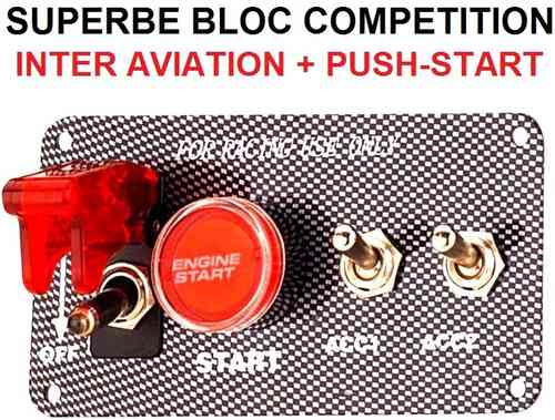 Bloc Push-Start + 3 interrupteurs look Carbone