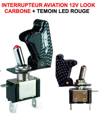 Interrupteur Aviation Look Carbone + LED Rouge