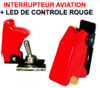 Interrupteur Aviation Capot Rouge + LED Rouge