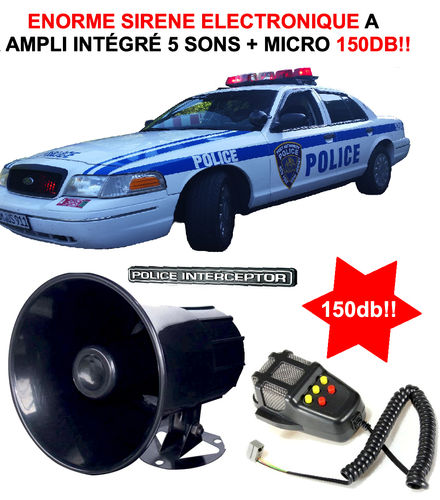 Interceptor ! Puissante Sirene Electronique 12V 5 sons + Micro 150db!