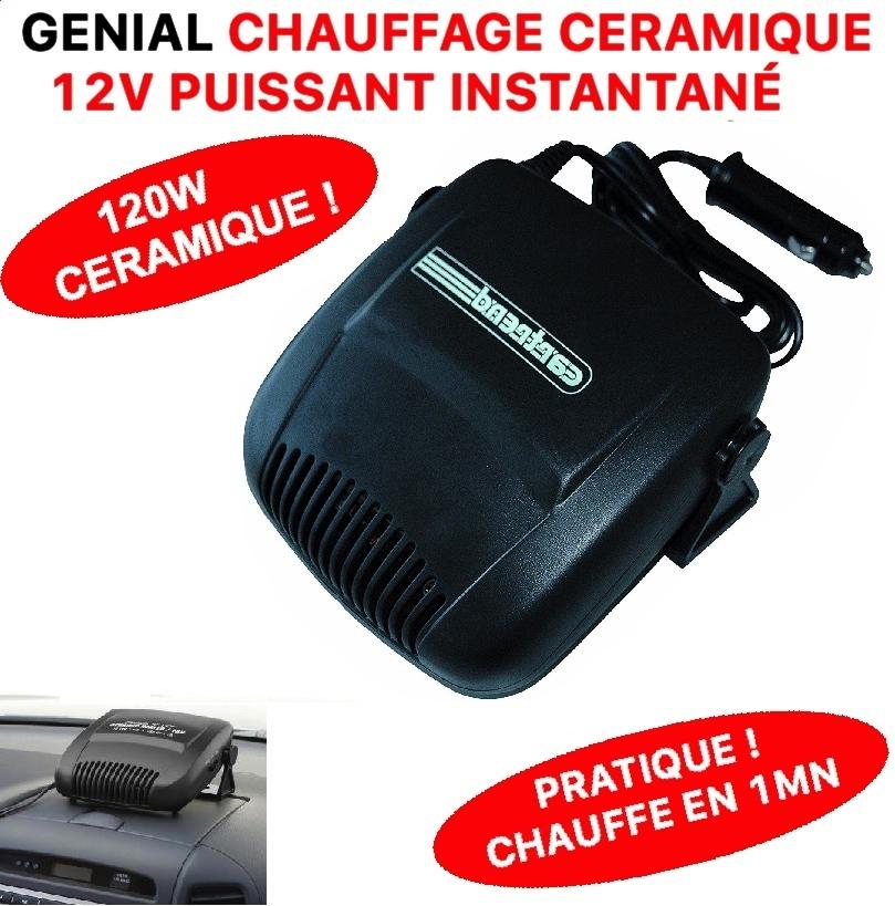 g nial chauffage 12v 120w allume cigare ceramique chauffe. Black Bedroom Furniture Sets. Home Design Ideas